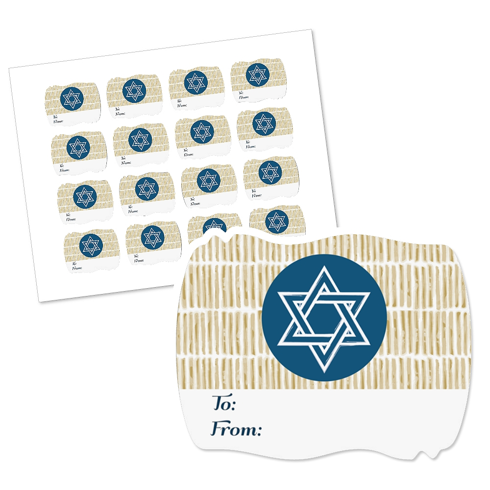 Happy Hanukkah - Squiggle Chanukah Gift Tag Stickers (1 Sheet of 16)