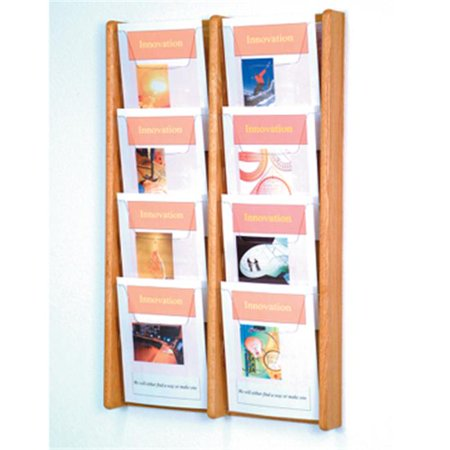 Wooden Mallet AC34-8LO Stance 8 Pocket Wall Display in Light Oak - (Expandable Literature Display Pockets)