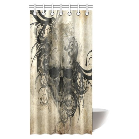 POP Tattoo Art Decor Shower Curtain, Revenge Fierce Faced Skull Triplets with Romantic Detail of Rose Bathroom Shower Curtain Set 36x72 inch - image 1 de 2