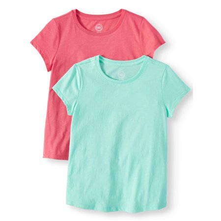 Crew Neck T-Shirts 2-Pack (Little Girls, Big Girls, & Plus) (Plain Girls Shorts)