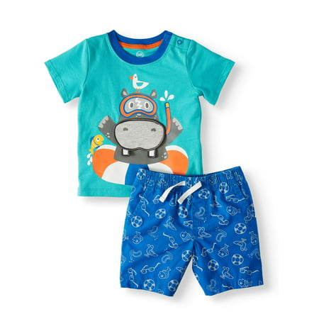 3-D Interactive Graphic T-shirt & Shorts, 2pc Set (Baby Boys)