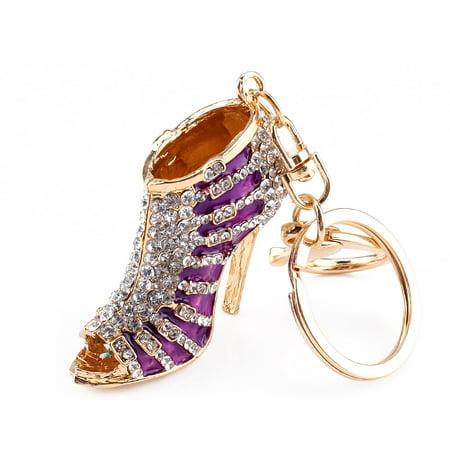 Zerone New Crystal Shoe High Heel Pendent Rhinestone Key Purse Bag Keyring Chain Gift,Key Ring, Alloy Keyring