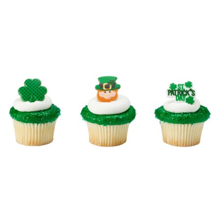 St Patricks Day Cake Decorations (12 St Patrick's Day Cupcake Cake Rings Birthday Party Favors)