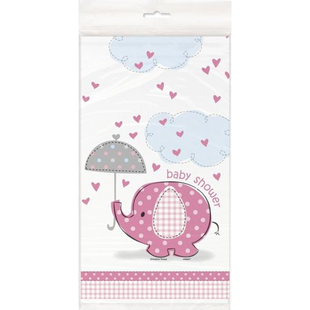 Pink Elephant Girl Ba Shower Plastic Tablecloth, 84