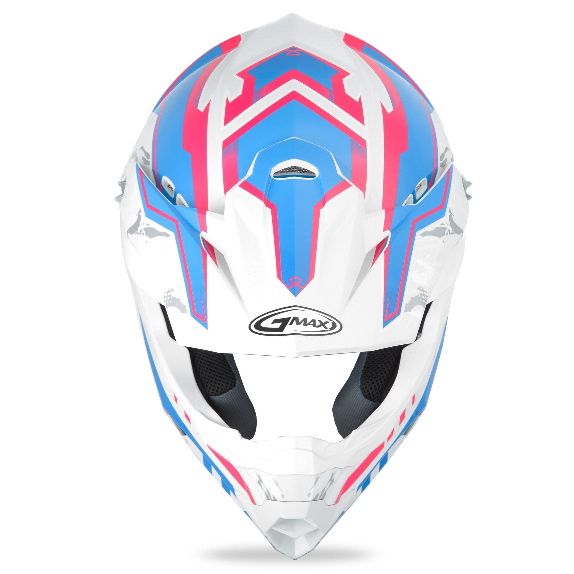M//Medium GMAX MX86 Motocross Offroad Helmet Pink Ribbon Riders White//Pink//Blue