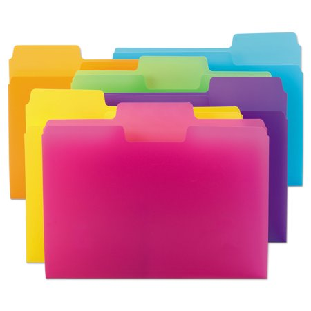Colored File Folder - Top Tab Poly Colored File Folders, 1/3-Cut Tabs, Letter Size, Assorted, 18/Pack