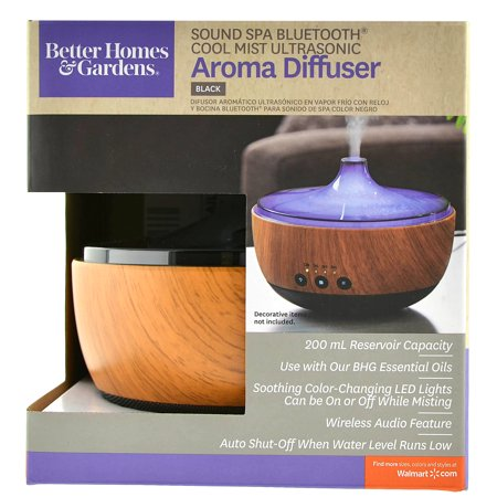 Better homes gardens sound spa bluetooth cool mist ultrasonic aroma diffuser black Better homes and gardens diffuser