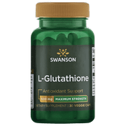 Swanson L-Glutathione - Maximum Strength 500 mg 30 Veggie Capsules