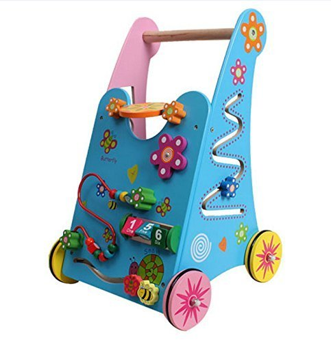 Toyerbee Multifunction Wooden Baby Walker Wonderful Push Toy for Kid