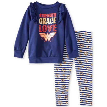 Little Girls' Fleece Ruffled Shoulder Graphic Tunic and Legging, 2-Piece Outfit Set (Cheap Superhero Outfits)