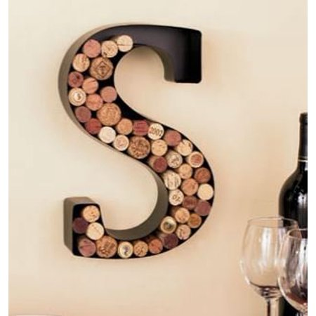 Monogram Letter S Wall Wine Cork Holder in Black Metal ()
