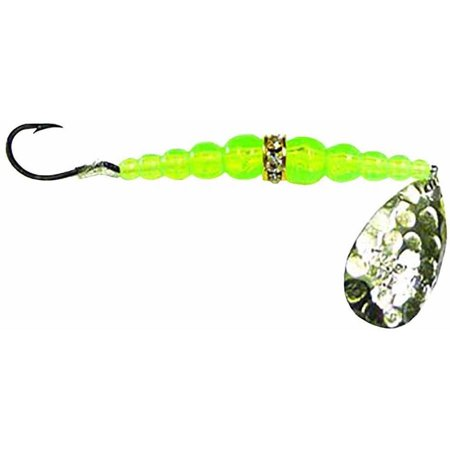 Mack's Lure Wedding Ring Classic Spinner, Hammered Nickel/Chartreuse