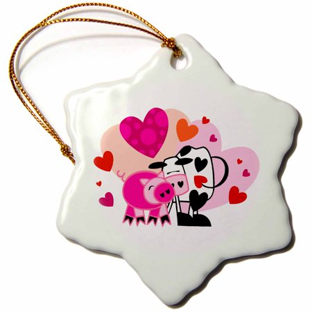 3dRose Cute Cow and Pig Valentine Design, Snowflake Ornament, Porcelain, 3-inch ()