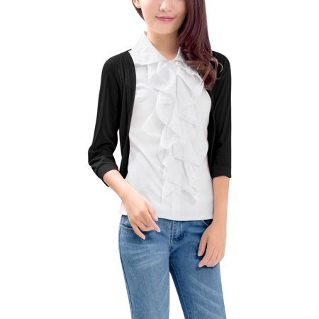 Women's Layered Ruffle Top 3/4 Sleeve Casual Fall Blouse ()