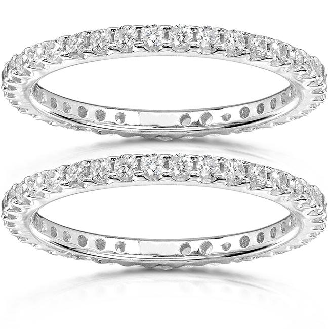 Round-Brilliant Diamond Eternity Bands 1 carat (ctw) in Platinum (2 Piece Set) by