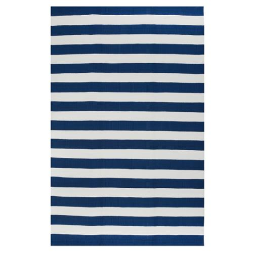 Fab Habitat Indo Hand-woven Nantucket Blue/ White Striped Contemporary Rug (3' x 5')