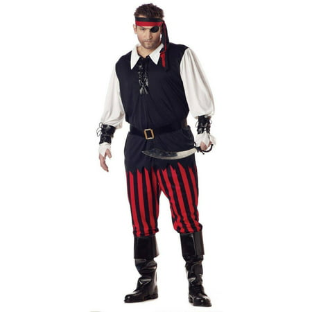 Cutthroat Pirate Adult Men's Plus Size Adult Halloween Costume, XL (Mens Pirate Costume)