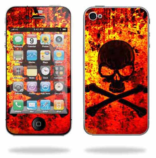 Mightyskins Apple iPhone 4 or iPhone 4S AT&T or Verizon 16GB 32GB Cell Phone wrap sticker skins Bio Skull