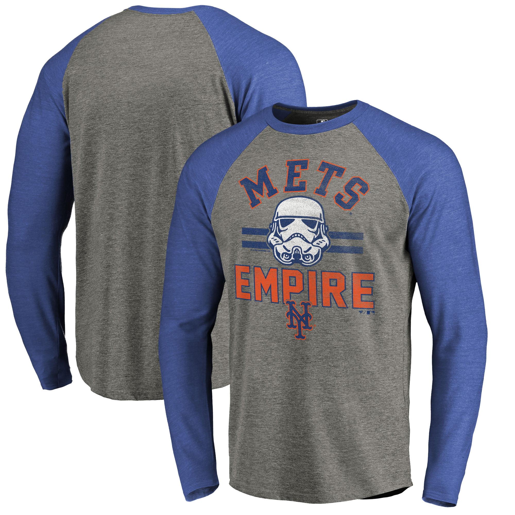 New York Mets Fanatics Branded MLB Star Wars Empire Raglan Long Sleeve T-Shirt - Heather Gray