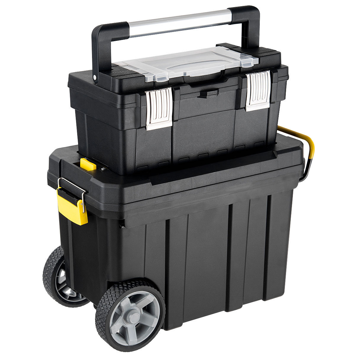 Costway 2-in-1 Rolling Tool Box Set Mobile Tool Chest Storage Organizer Portable Black