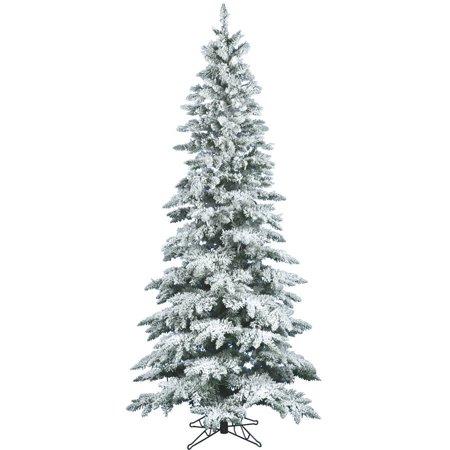 Vickerman 12' Flocked Utica Fir Slim Artificial Christmas Tree, Unlit