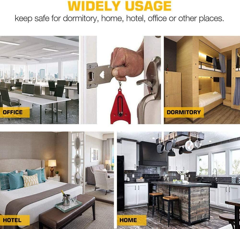 Dormitory Apartment Best for Travel Gives Your Additional Safety and Privacy 2PCS Portable Door Lock Home
