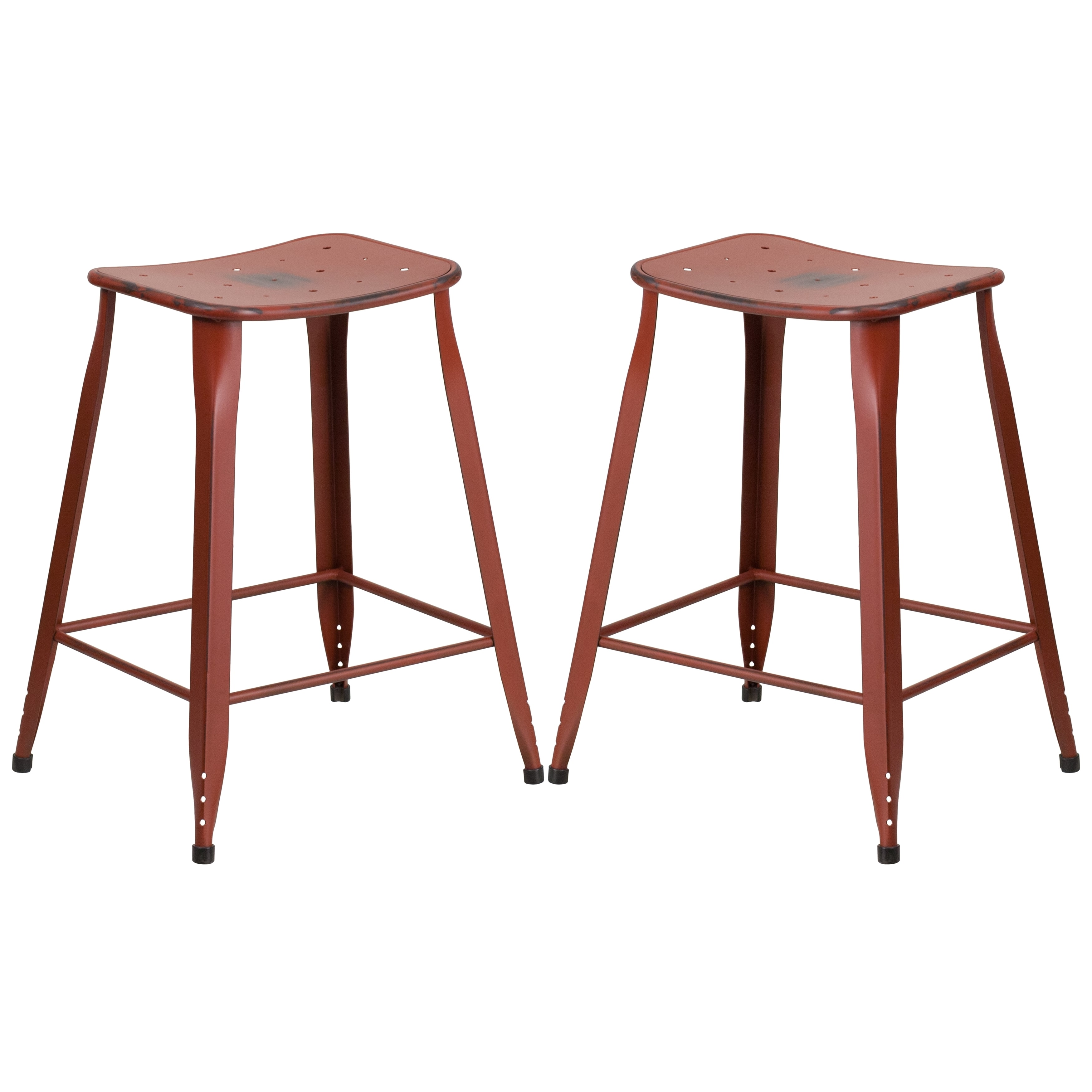 A Line Furniture Distressed Red Galvanized Metal 24 Inch Stool