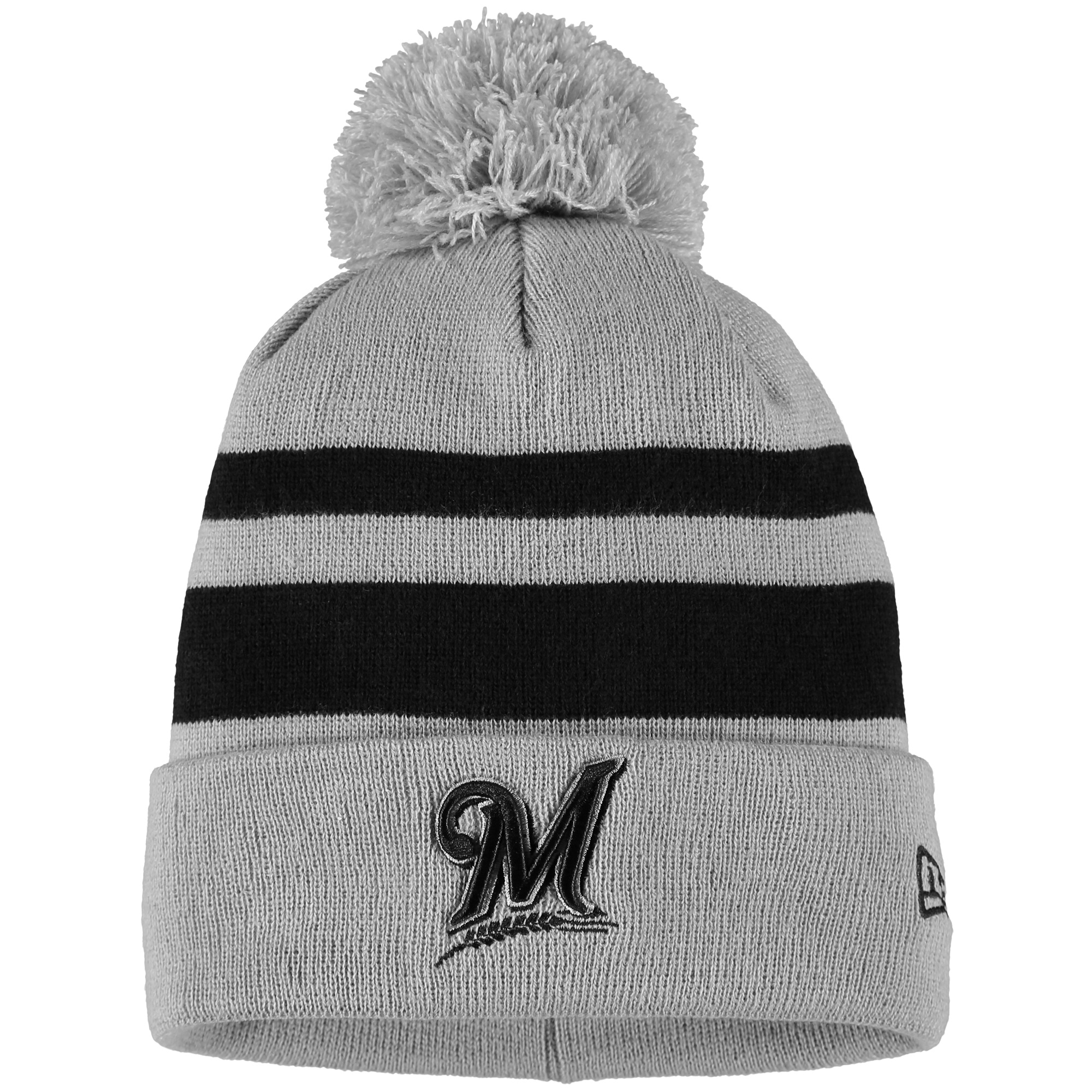Milwaukee Brewers New Era Rebound Cuffed Knit Hat with Pom - Gray/Black - OSFA