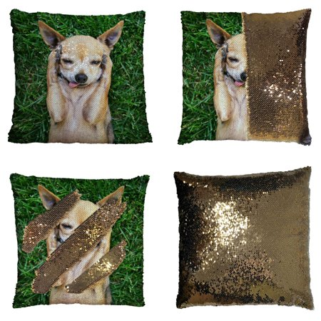 Cute Chihuahua (YKCG Funny Animals Cute Chihuahua Dog Paw on Head Reversible Mermaid Sequin Pillow Case Pillow Cover 16x16)