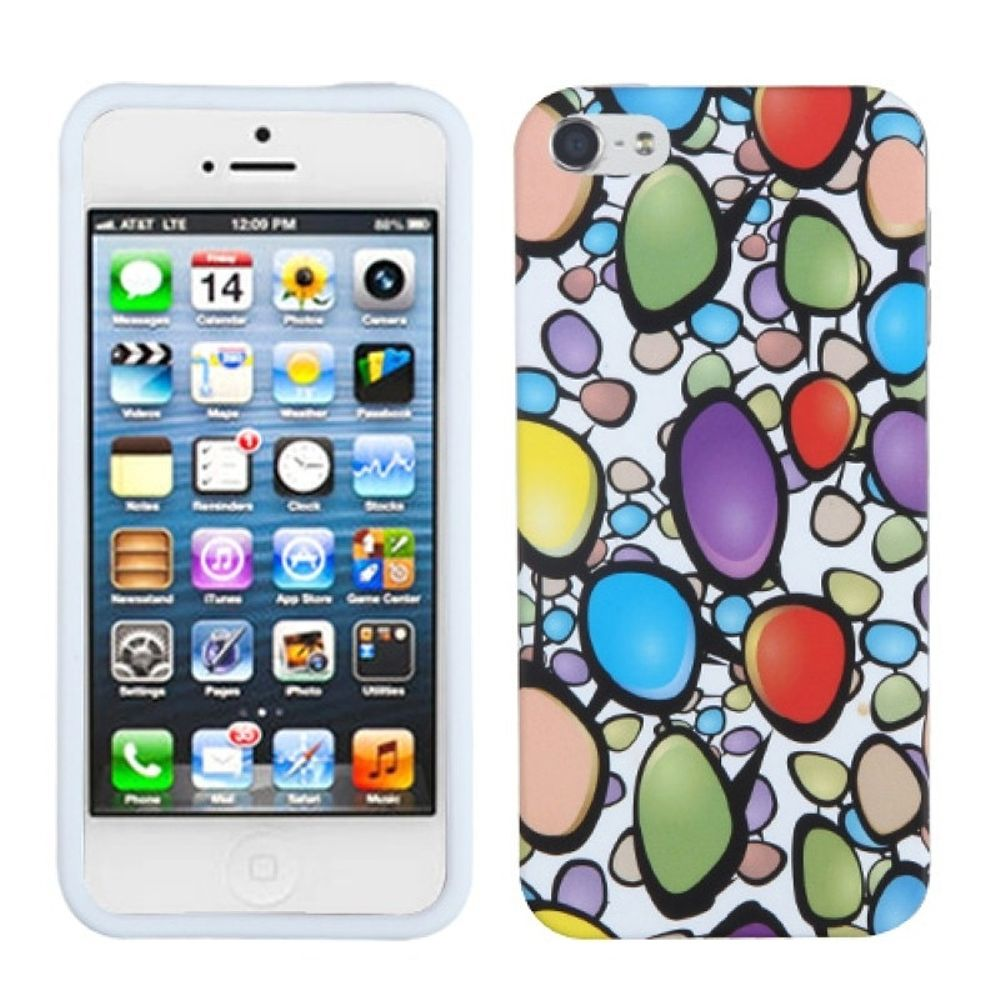 Insten Rainbow Gemstones Rubber Case For Apple iPhone 5/5S/SE - Colorful/White