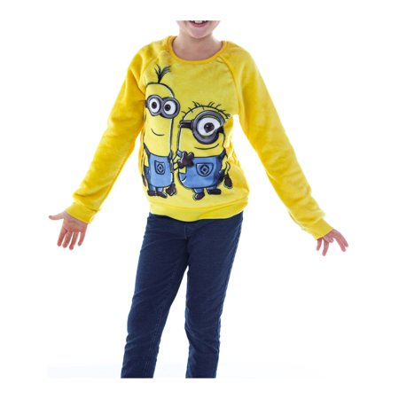 Girls Minions Plush Fleece Sweatshirt Yellow (Minion Hoodie)