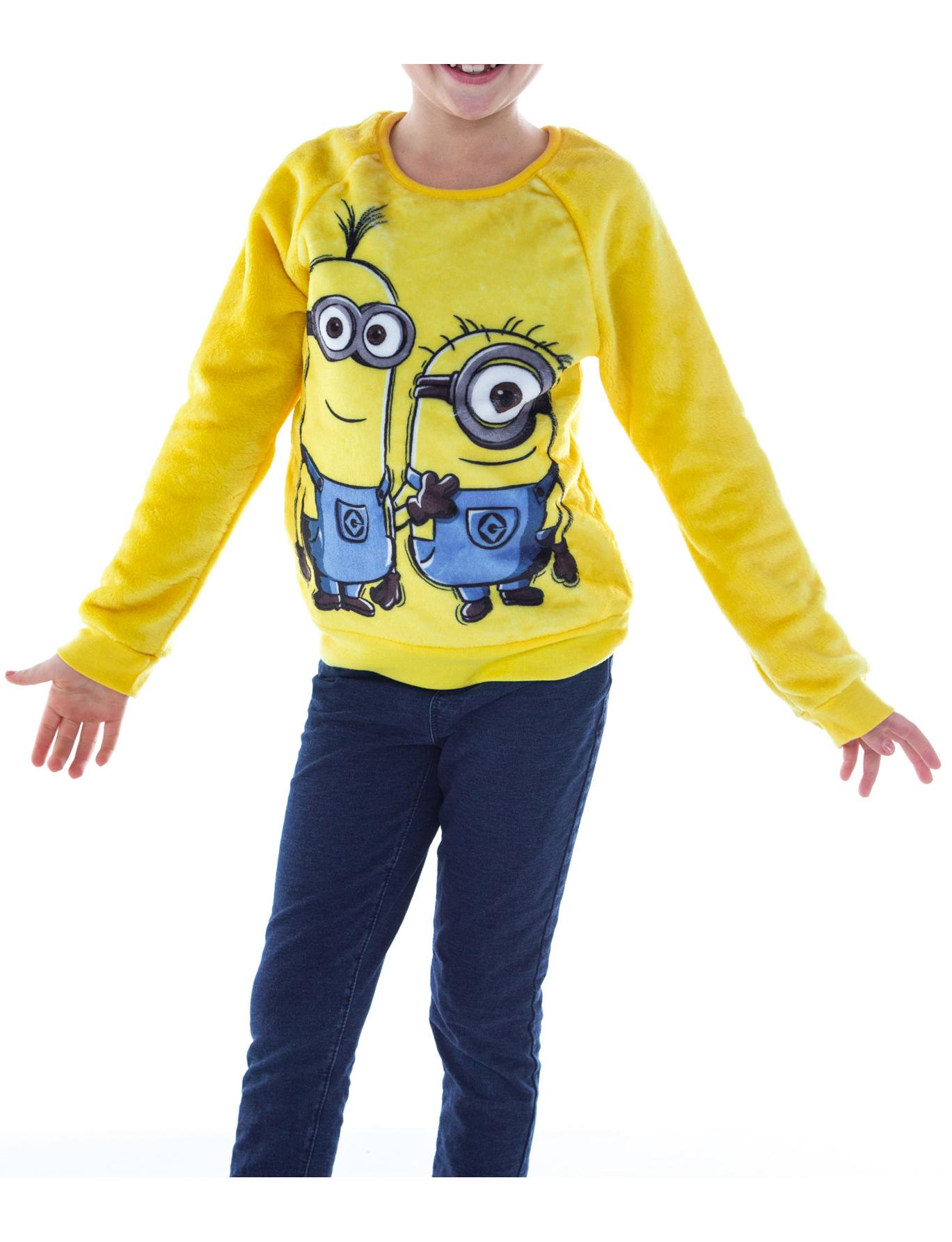 Girls Minions Plush Fleece Sweatshirt Yellow