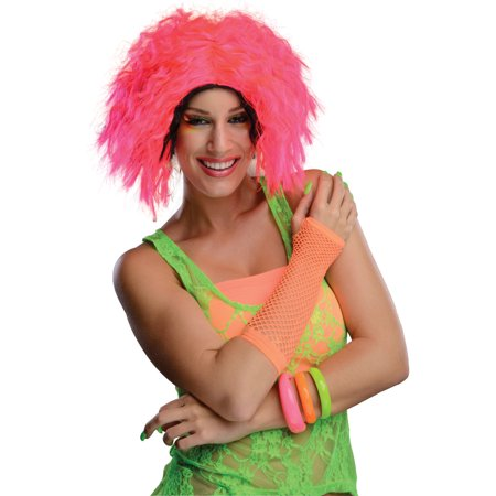 Adult Womens 80s Neon Chic Pink Black Rave Dance Costume Wavy Wig (Pink And Black Halloween Costumes)