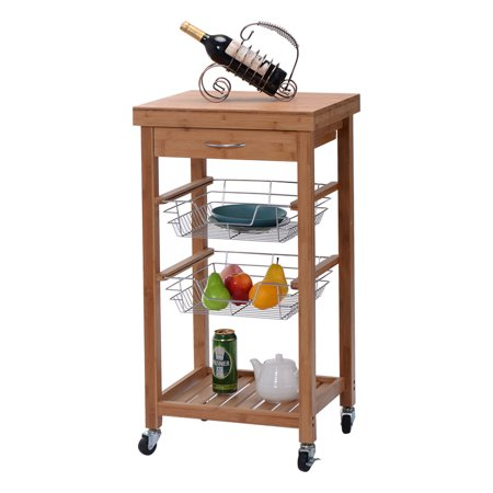 Costway Rolling Bamboo Kitchen Trolley Cart Island Storage