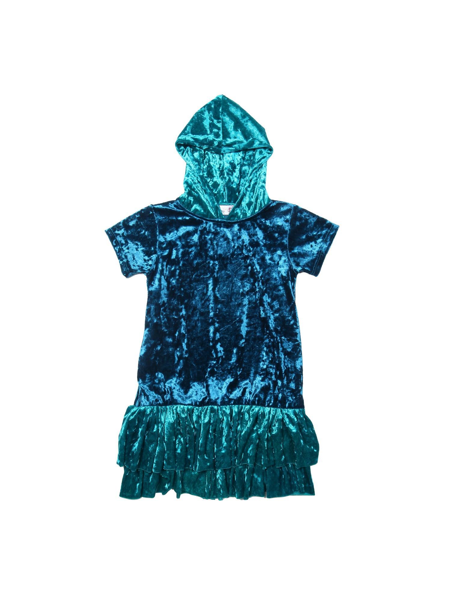 80e5fbffd5e Kids Dream Girls Teal Velvet Ruffle Hooded Plus Size Dress - Walmart.com