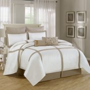 Luxury Home Symphony 8 Piece Comforter Set in Beige & White