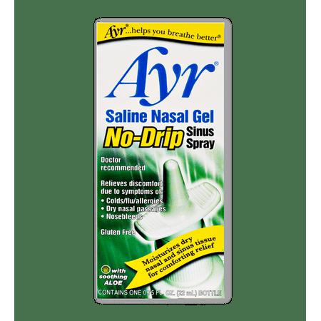 Ayr Saline Nasal Gel No-Drip Sinus Spray, Soothing Aloe Vera, 0.75 Fl Oz