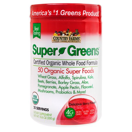Country Farms Super Greens Powder, Berry, 10.6 Oz, 20 Servings