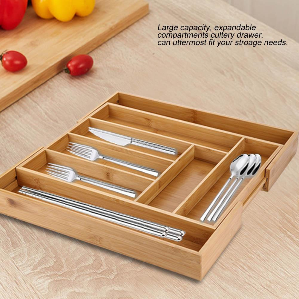 Expandable Bamboo Cutlery Storage Tidy Drawer Kitchen Organizer Compartment with Knife and Fork,Cutlery Storage, Cutlery Tray Holder