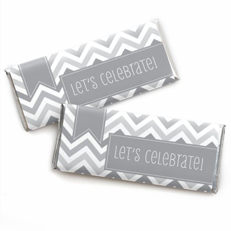 Chevron Gray - Candy Bar Wrappers Party Favors - Set of 24 (Chevron Party Theme)