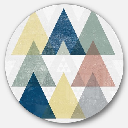 Designart 'Geometrical Composition Triangles II' Geometric Metal Circle Wall Art - image 3 de 3