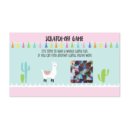 Whole Llama Fun - Llama Fiesta Baby Shower or Birthday Party Game Scratch Off Cards - 22 Count