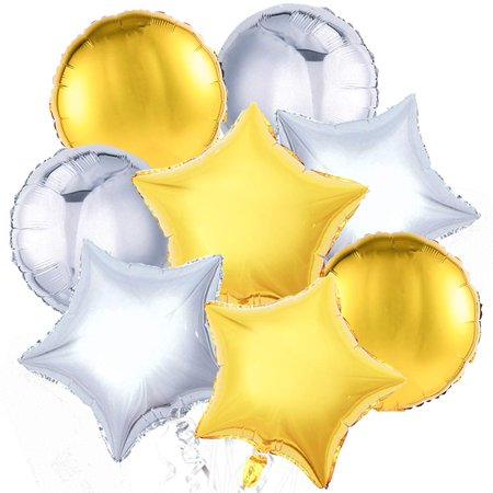 Star Balloons, 32 Pcs 18 Inch Gold Star Balloons Silver Balloons Round Balloons Mylar Balloons Foil Giant Balloon for Starry Night Decorations, Twinkle Twinkle Little Star Decorations LAttLiv - Gold /