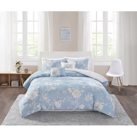 Mainstays Monotone Blue Floral Printed Comforter Bedding Set, Full/Queen ()