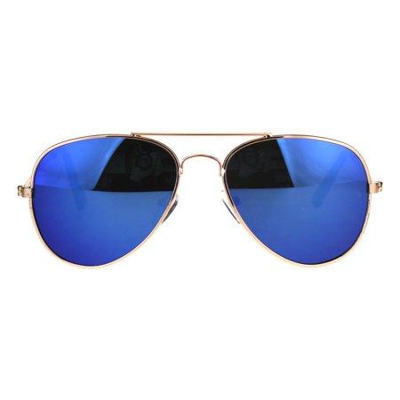 Boys Childerns Color Mirror Metal Rim Officer Sunglasses Blue - Teal Sunglasses
