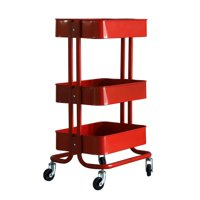 3-Tier Heavy Duty Metal Rolling Utility Cart Mobile Storage Organizer Trolley Cart for Home Kitchen Bathroom Red