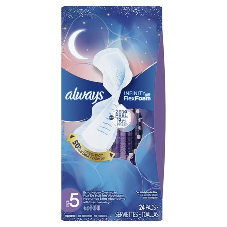 always infinity size 5 extra heavy overnight sanitary pads with