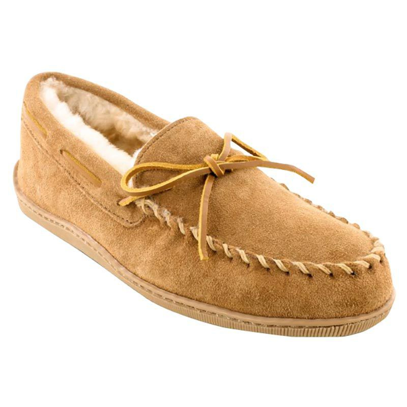 Minnetonka Mens Golden Tan Sheepskin Hardsole Moccasin by MINNETONKA
