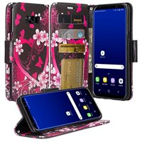 Samsung Galaxy S8 Plus Case - Wydan Wallet Leather Credit Card Flip Book Style Folio Kicktand Feature Cover w/ Wrist Strap Heart Flower - Black Pink