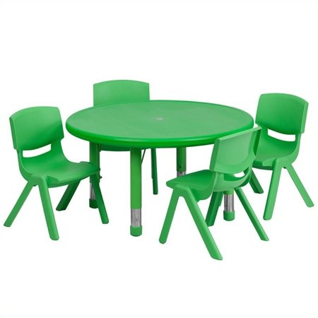"""Bowery Hill 5 Piece 33"""" Round Adjustable Table Set in Green - image 1 of 2"""